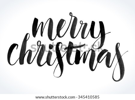 Merry Christmas background with modern calligraphy and hand drawn design elements. Handwritten letters, ink texture. Vector illustration. - stock vector