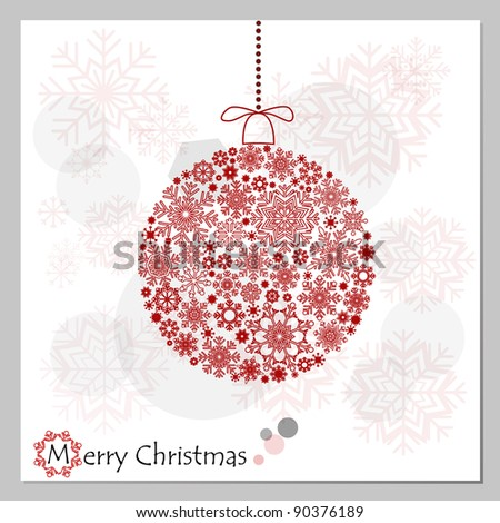 Merry Christmas background with red Christmas ball. - stock vector