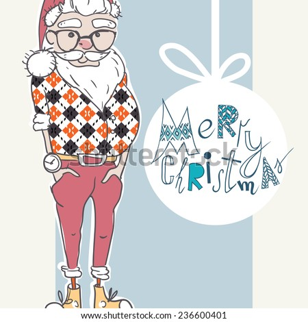 Merry Christmas Background With Santa In Hipster Style, Eps 10 Vector Illustration - stock vector