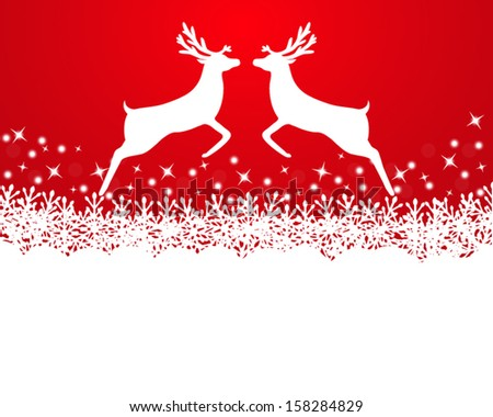 Merry Christmas background with snowflakes  and reindeer - stock vector