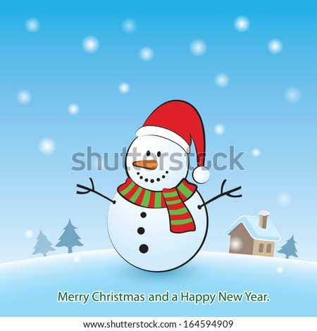 Merry Christmas background with snowman - stock vector