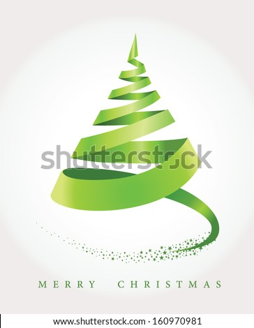 Merry christmas background with tree and stars - stock vector