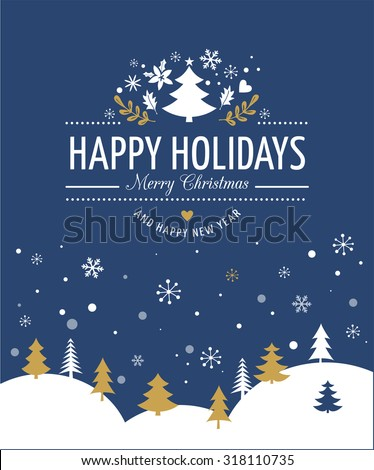 Merry Christmas Background With Typography, Lettering. Blue greeting card - stock vector