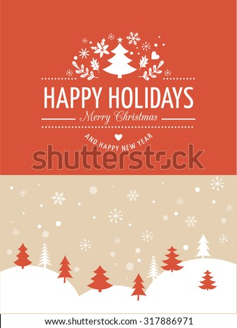 Merry Christmas Background With Typography, Lettering. Red greeting card - stock vector