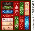 Merry Christmas, banner design background set, vector illustration - stock vector