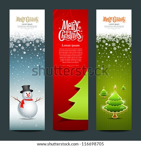 Merry Christmas, banner design vertical background set, vector illustration - stock vector