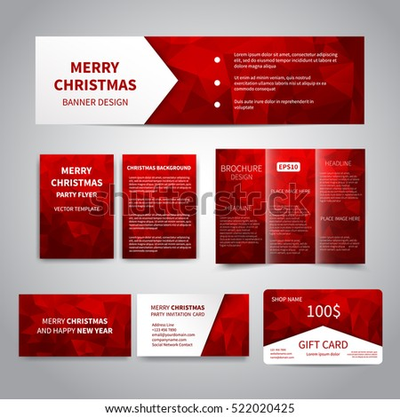 Red flyer design template brochure annual stock vector for Christmas brochure template
