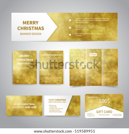 Merry Christmas Banner, flyers, brochure, cards, gift card design templates set with bokeh lights on gold background. Merry Christmas and Happy New Year party invitation and promotion printing