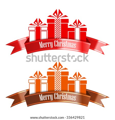 Merry Christmas banner ribbon. New Year concept. Vector Illustration - stock vector