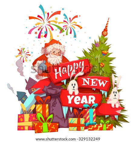 Merry Christmas banner with Santa Claus, ribbon and pine. Vector illustration. - stock vector