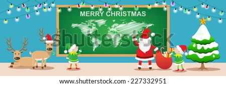 Merry Christmas banners.Cartoon styles with santa claus,elfs and reindeers work in christmas room.Vector illustration - stock vector
