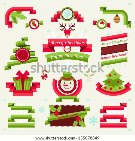 Merry Christmas banners, ribbons and badges. - stock vector