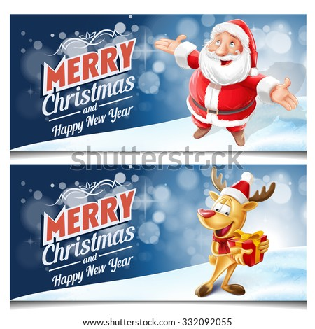 merry Christmas banners  Santa Claus and reindeer - stock vector