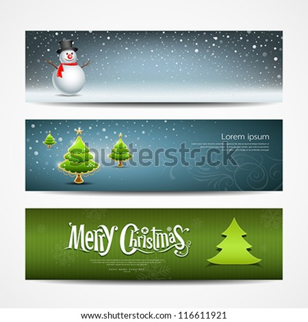 Merry Christmas banners set design, vector illustration - stock vector