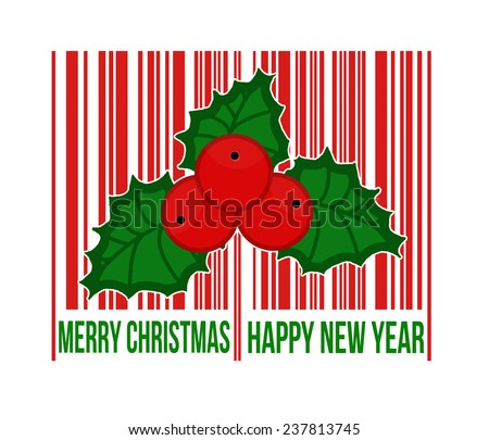 Merry Christmas barcode with holly berry inside on white background, vector illustration - stock vector