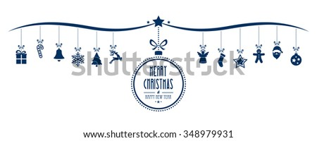 merry christmas bauble decoration elements blue isolated background - stock vector