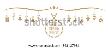 merry christmas bauble decoration elements gold isolated background - stock vector