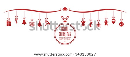 merry christmas bauble decoration elements red isolated background - stock vector