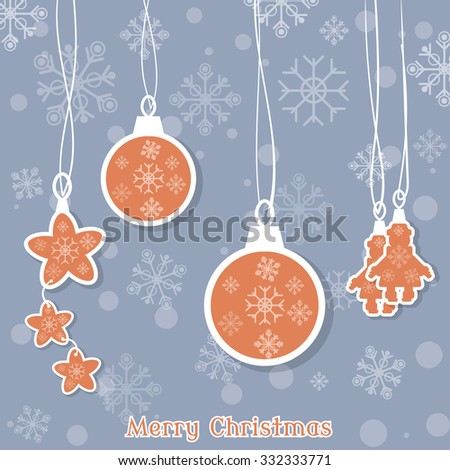 Merry Christmas beautiful christmas balls and toys on the christmas tree vector vintage illustration - stock vector