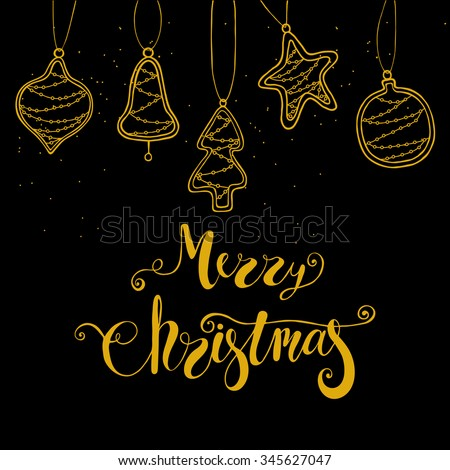 Merry Christmas Black And Gold Greeting Card With Decorative Toys New Year Tree Decoration