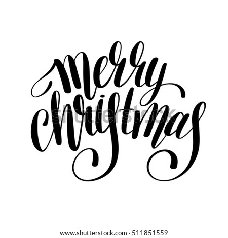 merry christmas black and white handwritten lettering inscription holiday phrase, typography banner with brush script, calligraphy vector illustration
