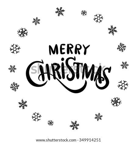 Merry Christmas black glittering lettering design. Vector illustration EPS 10 art - stock vector