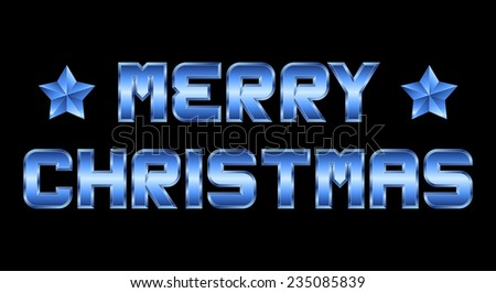 Merry Christmas - blue metal greeting, black background