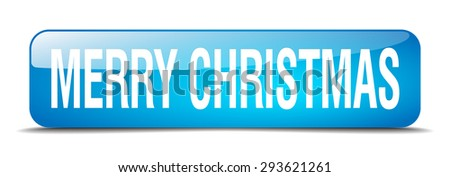 merry christmas blue square 3d realistic isolated web button - stock vector