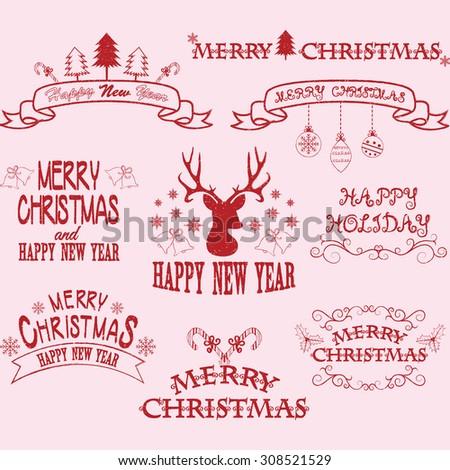 Merry Christmas Border Frames,Banner,Christmas Deer,Christmas Font Elements.  - stock vector