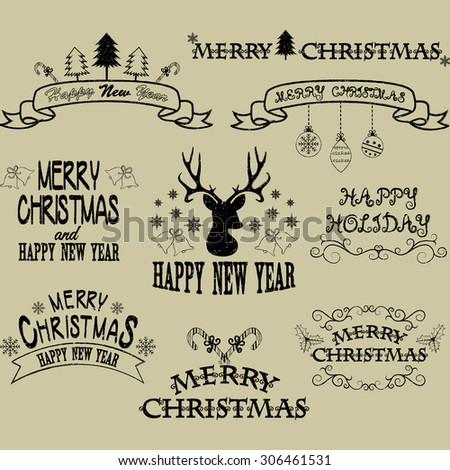 Merry Christmas Border Frames,Banner,Christmas Deer,Elements,Flourish Frame Collections - stock vector