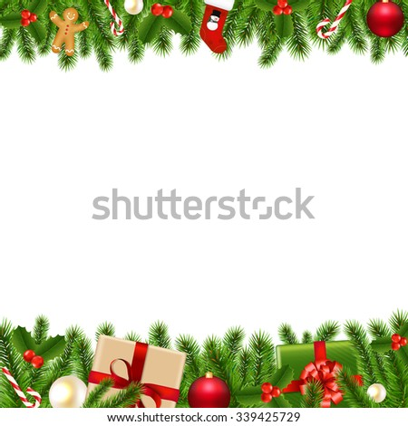 Merry Christmas Borders With Gradient Mesh, Vector Illustration - stock vector