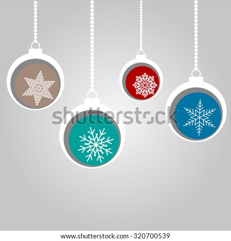 Merry Christmas Bulbs Card with Snowflakes Retro Vector