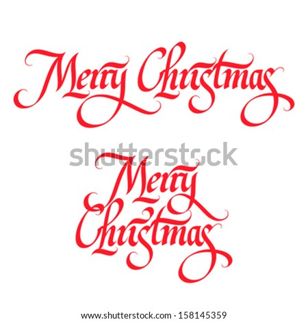 Merry Christmas calligraphic hand lettering - stock vector