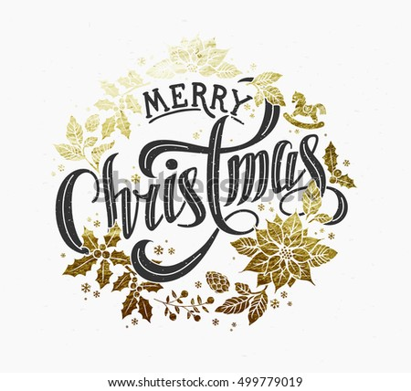 Merry Christmas Calligraphic Lettering Design decorated with Gold Christmas Wreath.