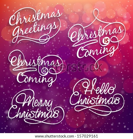 Merry Christmas calligraphy on bright bokeh background - stock vector
