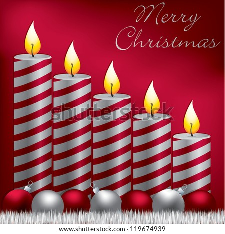 Merry Christmas candle, bauble and tinsel card in vector format. - stock vector