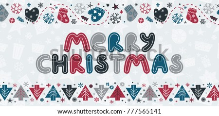 Merry Christmas Caption With Handdrawn Holiday Borders In Trendy Scandinavian Style Hand Write Lettering