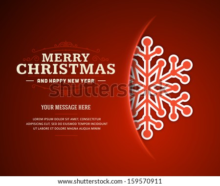 Merry Christmas card and snowflake decoration background. Vector illustration Eps 10. - stock vector