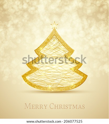 Merry Christmas card, Christmas tree - stock vector