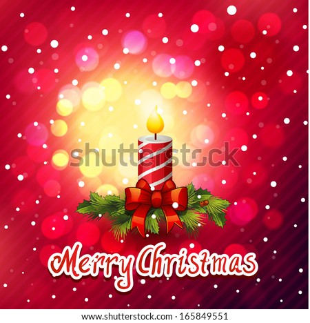 merry Christmas card Christmas wreath with candle decoration  - stock vector