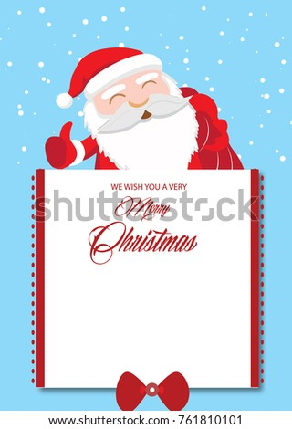 merry christmas card design and illustration with santa and note