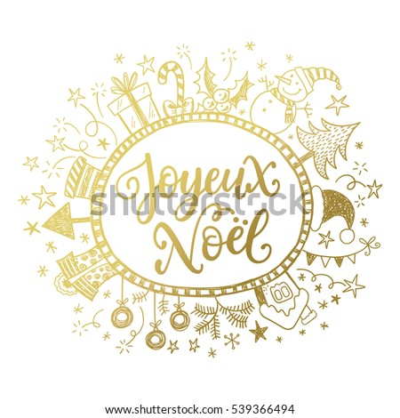 Merry christmas card design greetings french stock vector 539366494 merry christmas card design with greetings in french language joyeux noel phrase with doodle frame m4hsunfo