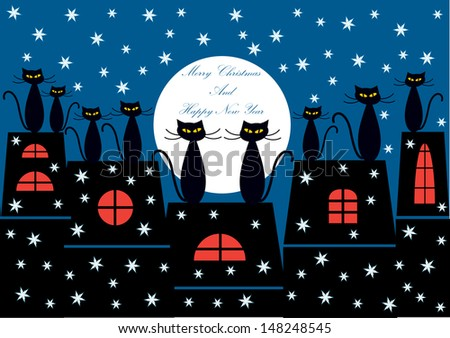 merry christmas card design with vector cartoon cats in silhouettes sitting on the top of the roof watching moon and snowflakes - stock vector