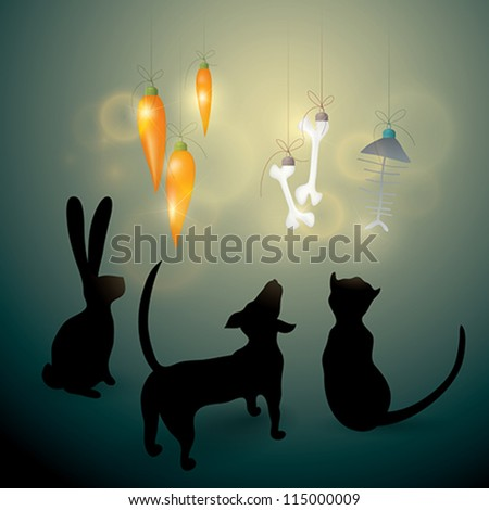 MERRY CHRISTMAS card / Dog, Cat and Rabbit look at funny decorations - stock vector