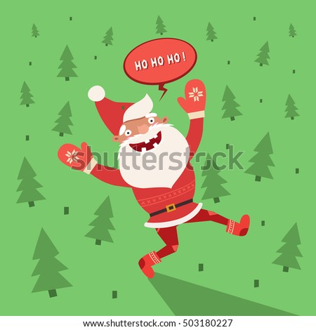 Merry Christmas Card, Happy Funny Santa Claus Saying Ho Ho Ho On Forest  Background.