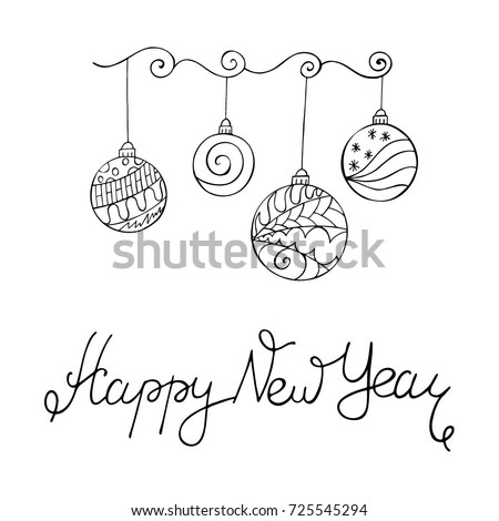 Merry Christmas Card Zentangle Style Word Stock Vector 725545294