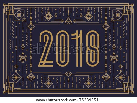 Merry christmas card template sign 2018 stock vector 753393511 merry christmas card template with sign 2018 and new year toy gold art deco style on toneelgroepblik Gallery