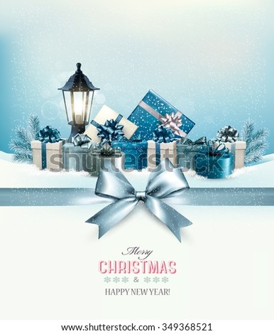Merry Christmas card with a ribbon and gift boxes. Vector.  - stock vector