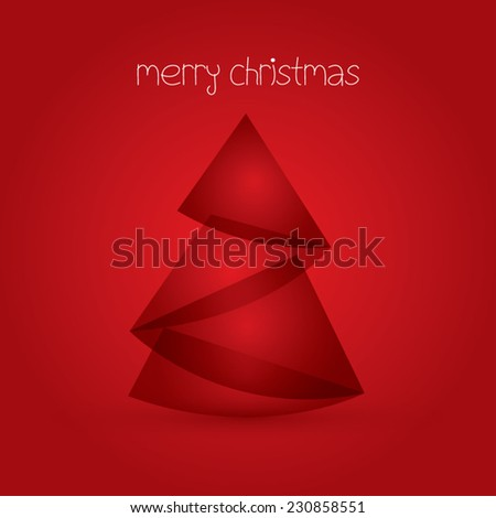merry christmas card with abstract christmas tree