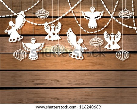 Merry Christmas  card with Angels and decorations in paper cut style, vector - stock vector